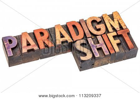 paradigm shift word abstract - an isolated banner in vintage letterpress wood type blocks stained by color inks