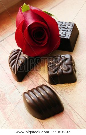 Chocolates and rose