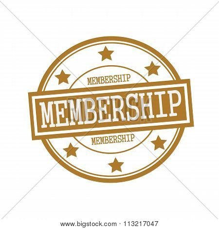 Membership White Stamp Text On Circle On Brown Background And Star