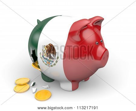 Mexico economy and finance concept for poverty and national debt
