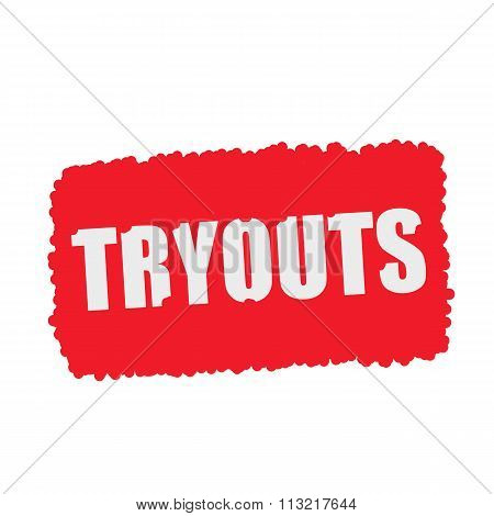 Tryouts White Stamp Text On Blood Drops Red Background