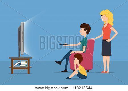 Family watching TV. Vector flat illustration