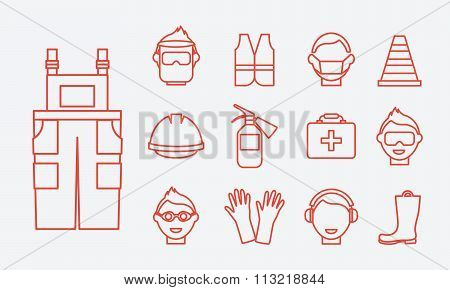 Safety at work. Job safety line icons vector set. Protective equipment