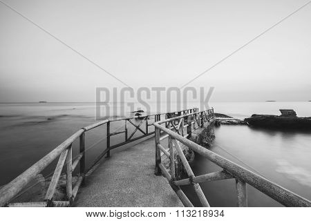 Long exposure of pier in east coast, Thailand, black and white