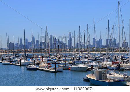 Melbourne cityscape harbor Australia