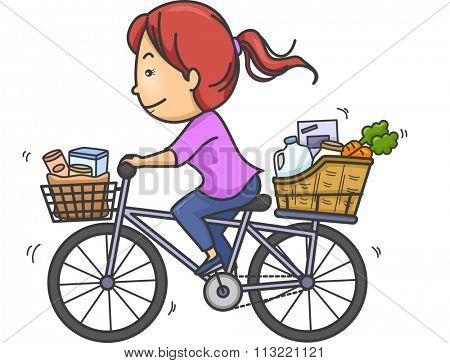 Illustration of a Girl Transporting Goods Using Her Bike