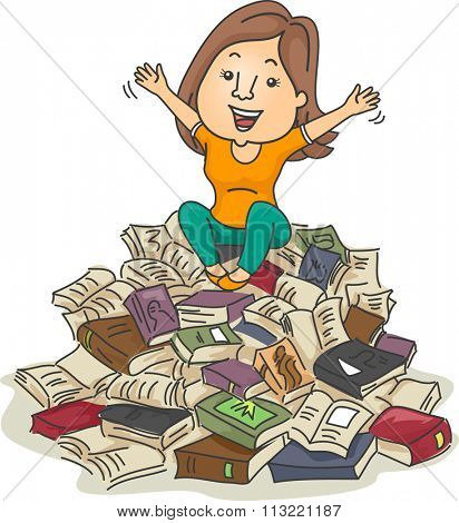 Illustration of a Bookworm Sitting on a Pile of Books