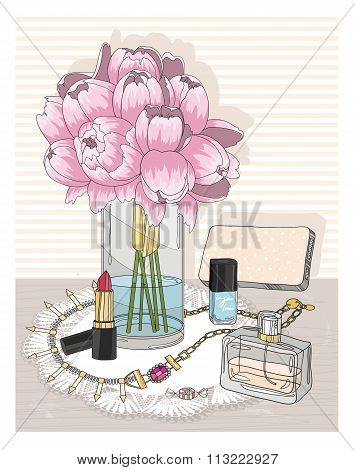 Fashion Essentials. Background With Jewellery, Perfume, Make Up And Flowers. Fashion Accessories.