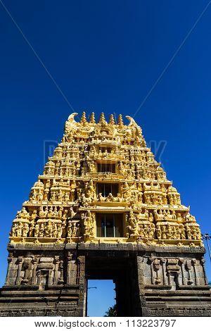 Entrance gopura or pillar at Chennakesava temple, Belur captured on December 30th, 2015