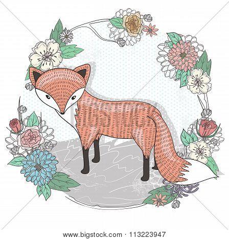 Cute Little Fox Illustration. Flower Frame.