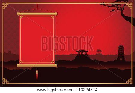 Chinese hanging on China scene background