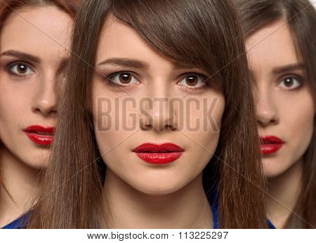 three pretty women faces. triplets sisters