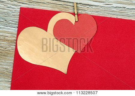 Colorful  Red And Gold Paper Heart On Vintage Paper