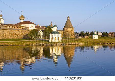 Transfiguration of Jesus Christ Savior Solovetskiy monastery on Solovki islands (Solovetskiy archipelago) in White sea Russia UNESCO World Heritage Site. poster