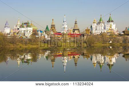 Moscow Izmaylovskiy Kremlin in region Izmaylovo famous tourist landmark vernisage of art and crafts with original wooden architecture.
