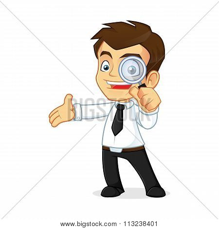 Businessman Holding A Magnifying Glass