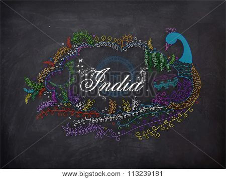 Happy Republic Day celebration with creative illustration of Indian National Bird, Peacock made by beautiful floral design and stylish text India on Ashoka Wheel decorated chalkboard background.