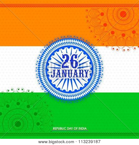 Creative Ashoka Wheel with stylish text 26 January on floral design decorated shiny tricolour background for Happy Indian Republic Day celebration. poster
