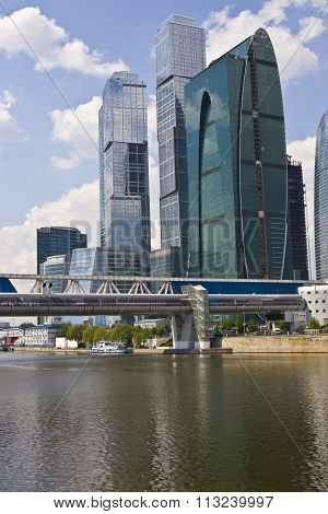 MOSCOW - MAY 23, 2010: modern buildings and Bagration bridge in business centre Moscow city.
