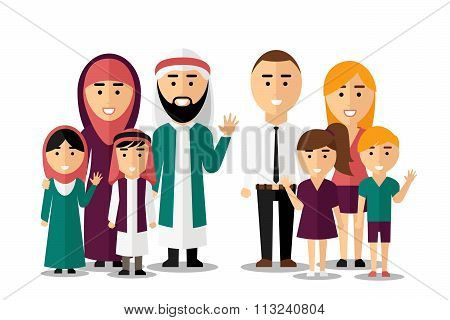 Arab and european happy families. Vector set of people characters