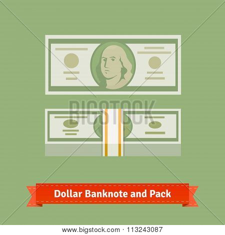 Hundred dollars banknote and money pack with strap