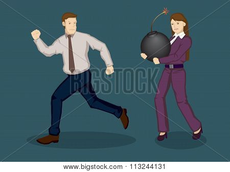 Businessman Running Away From Trouble Vector Illustration