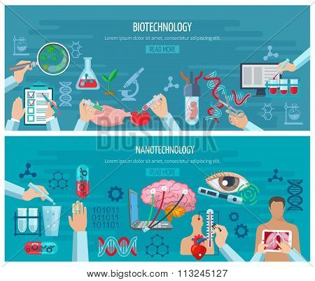 Horizontal  Biotechnology And Nanotechnology Banners