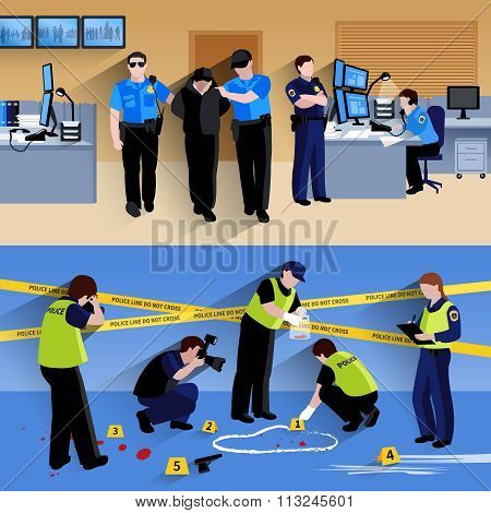 Working Policeman People  Horizontal Banners Compositions