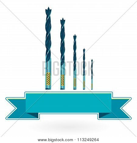 Blue nice classical metal drills on white - Construction tools