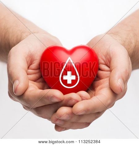 male hands holding red heart with donor sign