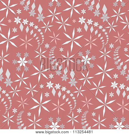 Seamless christmas pattern. Crystal light gray, white snowflake, star silhouettes on soft, rose, ash