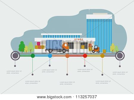 Flat design vector info graphic illustration  with store market and time-line.