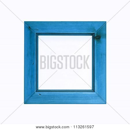 Blue Square Wooden Picture Frame Isolated On White Background.