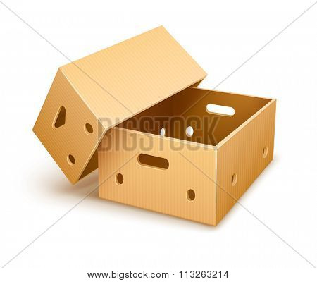 Empty cardboard box tare for fruits transportation and keeping. vector illustration. Isolated on white background. Transparent objects used for lights and shadows drawing.