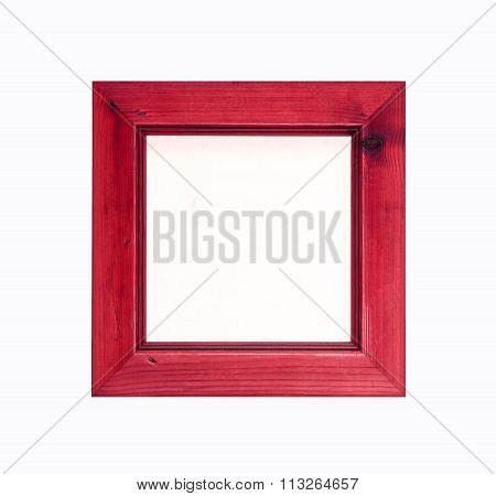 Red Square, Wooden, Picture Frame Isolated On White Background.