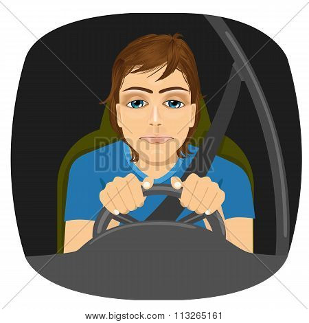 sleepy male driver dozing off while driving