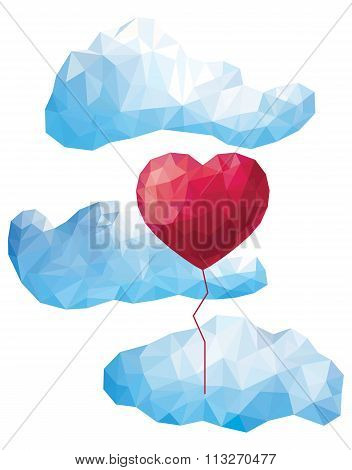 Vector Heart Balloon In The Clouds In The Style Of A Triangular Low Poly