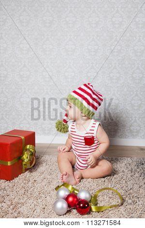 Baby Boy Christmas Portrait