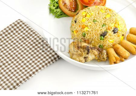 main food American fried rice isolated on white background