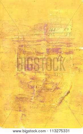 Distressed golden acrylic abstract background with obscure writing