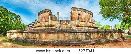 The Polonnaruwa Vatadage in the world heritage city Polonnaruwa, Sri Lanka. Panorama