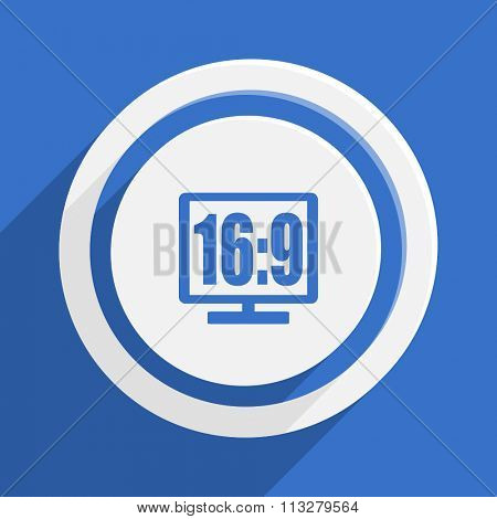 16 9 display blue flat design modern vector icon for web and mobile app