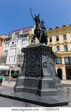 Ban Jelacic Monument On Central City Square (trg Bana Jelacica) In Zagreb, Croatia. The Oldest Stand