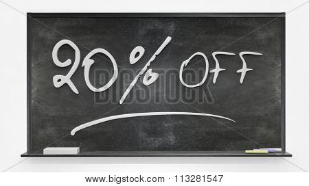 twenty per cent off written on blackboard