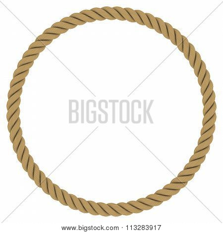 Rope Circle - Circular Rope Frame Isolated On White Background