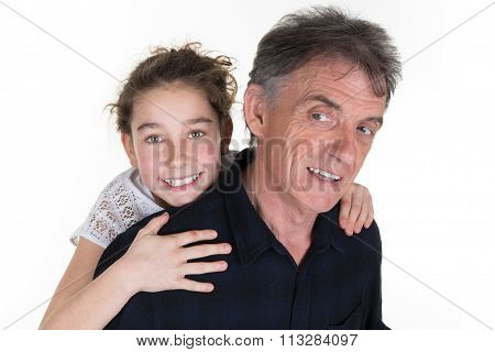Girl And Her Father Having Fun, Shot Over White In Studio