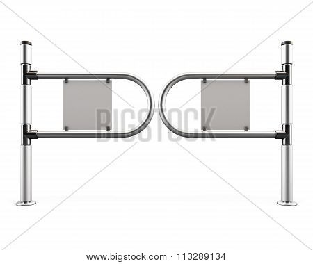 Entrance Tourniquet, Turnstile From Chromes Pipes. 3D.