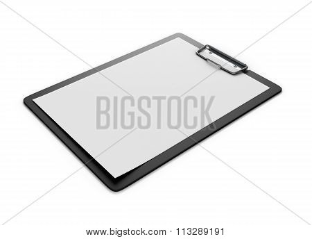 Clipboard With An Empty Sheet Of Paper Isolated On The White Background. Paper Holder. 3D.