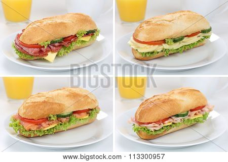 Collection Of Sub Deli Sandwiches Baguettes For Breakfast With Ham, Salami, Cheese And Orange Juice