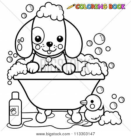Dog Taking Bath Coloring Book Page Vector & Photo | Bigstock